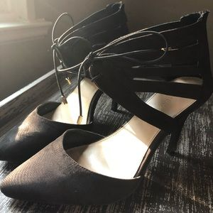 Black Gold Heels w/Ankle Strap